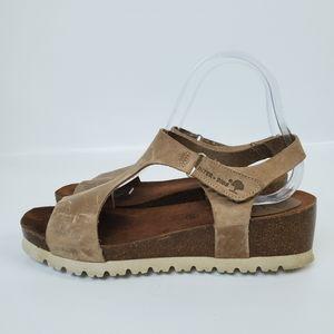 Inter bios Cork Leather Valcro Wedge Sandals